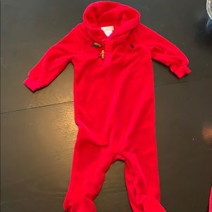 Red Ralph Lauren Baby Boy Footie